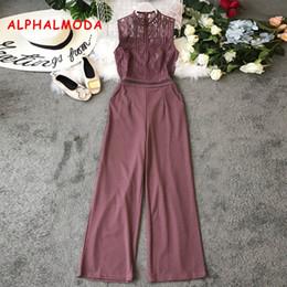 $enCountryForm.capitalKeyWord Australia - Alphalmoda Euro-american Style Hollow Lace Stitching Sleeveless High Waist Wide-legs Pants Women Vogue Fashion Rompers Y19071701
