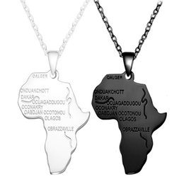 africa map pendant necklace NZ - Free Fan Silver Gold Africa Map Pendant Necklace For Women Men Hip Hop Men Charm African Necklace Jewelry Gift