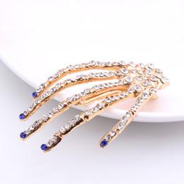 $enCountryForm.capitalKeyWord Australia - New Designer Claw Hair Clips Hip Hop Halloween Claw Hairclips Rhinestone Gold Plated Hair Barrenttes Fashion Jewelry 6 Colors