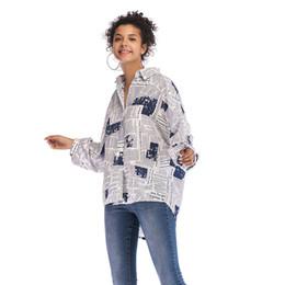$enCountryForm.capitalKeyWord UK - New Fashion Newspaper Pattern Printed Letter Women Shirts Long Sleeve Front Short Long Back Big Discount SH-004