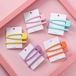 metal snap hair clips wholesale Australia - 2pcs set Korean Girl Hair Clips for Women Fluorescence Candy Color Hair Styling Snap Clip Hairpins Metal BB clip Accessories