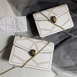 Hand Bag For Girl Leather Australia - Fashion luxury Rivet Chain Bag Single Shoulder Leather Side Purse Messenger Bag Snake Hand bag for Women and Girls