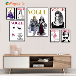 Wholesale Vogue Girl Quotes Wall Art Canvas Painting Nordic Poster Salon Wall Pictures For Living Room Home Decoration Pictures Unframed
