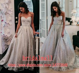 grey wedding dress sash Australia - Princess 2020 Grey Sequins Lace Beach Wedding Dresses With Crystals Sash Sweetheart Bohemian Beach Bridal Dresses Outdoor Boho Wedding Gowns