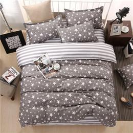 Blue Grey Bedding Set Canada - Classic bedding set 5 size grey blue flower bed linen 4pcs set duvet cover set Pastoral bed sheet AB side duvet cover