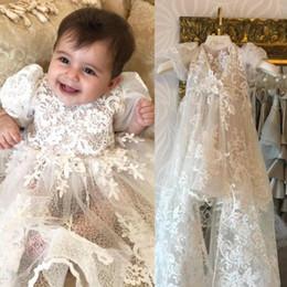 White Communion Dresses Short Australia - Baby Christening Gowns Lace Short Sleeve Baptism Holy First Communion Dresses Infants For Babies Girls Trottie Nursling Gown Party Dress