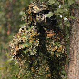 $enCountryForm.capitalKeyWord Australia - Hunting clothes New 3D maple leaf Bionic Ghillie Suits Yowie sniper birdwatch airsoft Camouflage Clothing jacket and pants