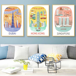wall stickers canvas NZ - Hong Kong Dubai Helsinki Singapore Paris Travel Canvas Painting Vintage Kraft Posters Coated Wall Stickers Decor Family Gift