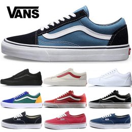 Wholesale VANS Original old skool Running shoes black blue red Classic mens women canvas sneakers fashion Cool Skateboarding casual shoes