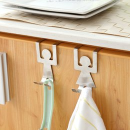 $enCountryForm.capitalKeyWord Australia - 2Pcs Lot Stainless Steel Over Door Tableware Hooks Kitchen Cabinet Drawer Clothes Holder Hanger Storage Organizer Hooks Rails