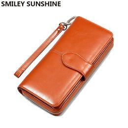 a3c613e1896 SMILEY SUNSHINE Fashion Women Wallets Patent leather Wallet Female Wristlet  Long Clutch Purses Women Big Ladies Wallet portfolio