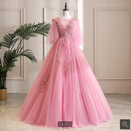 $enCountryForm.capitalKeyWord Australia - 2019 real picture pink half sleeve lace appliques ball gown prom dress scoop neckline beaded crystals modest sweet 16 prom party dresses