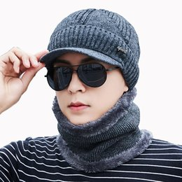Male Hat Scarf Australia - Men Winter Hat And Scarf Set For Women Scarves Cap With Brim Knitted Visor Skullies Beanies Male Balaclava Adult Warm 2 Pcs Suit