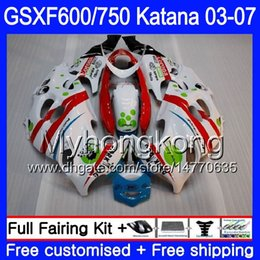 Red Katana Australia - GSXF-600 For SUZUKI KATANA Red white stock GSXF 750 600 GSXF600 03 04 05 06 07 293HM.59 GSX 750F GSXF750 2003 2004 2005 2006 2007 Fairing