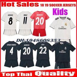 74d0b5d23b8 Kids 2018 2019 Real Madrid soccer Jerseys 18 19 Home Away third Boy ISCO  ASENSIO BALE KROOS Child 3rd red children uniforms football Shirts