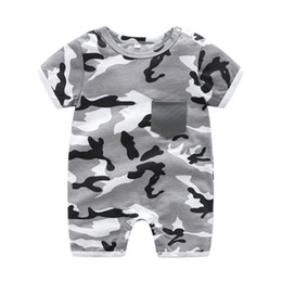 $enCountryForm.capitalKeyWord Australia - New Summer Baby Boys Camouflage Rompers Kids Short Sleeve Cotton Rompers Toddlers Climb Clothes Jumpers 14909
