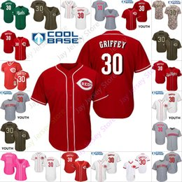4ca51138895 Custom Cincinnati 30 Ken Griffey Jersey Reds Jerseys Cooperstown Cool Base  Flexbase White Black Red Grey Home Away Men Women Youth Cheap