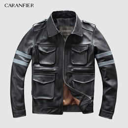 $enCountryForm.capitalKeyWord Australia - DHL Free Shipping Mens Genuine Leather Jacket Multi-pocket Luminous Letters Safety Tips Motorcycle Leather Jacket 3XL