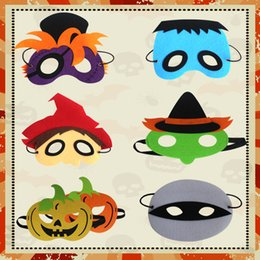 Discount mask designs for children - Halloween Cosplay Masks 8 Designs Kids Felt Pumpkin Masks Party Funny Performance Costume Accessories 50 Pieces DHL