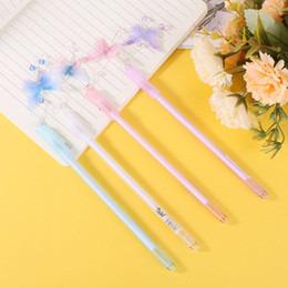 Crystal offiCe supplies online shopping - 1 PC Cute Butterfly Pendant Neutral Pens Gel Pen Kawaii Crystal Gel Pen for Kids Gift School Office Supplies Stationery