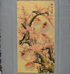 $enCountryForm.capitalKeyWord Australia - China hand embroidery golden silk embroidery Mei Kai Wu Fu five fish chart brocade drawing