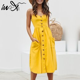 $enCountryForm.capitalKeyWord Australia - In-X Yellow sexy beach dress plus size Elegant buttons women Cover ups Strap long dresses Summer female cover up 2019 Swimsuit