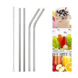 $enCountryForm.capitalKeyWord Australia - Drinking s Hoomall 1 2 4pcs Reusable Drinking Straw Metal Straw With Cleaner Brush For Home Party Stainless Steel Straw Barware Gadgets