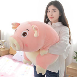 Pink Girl Toys Australia - kawaii pink pig plush toy giant girl holding sleeping pillow doll long strip piggy pillow for girl sweet gift 43inch 110cm DY50606