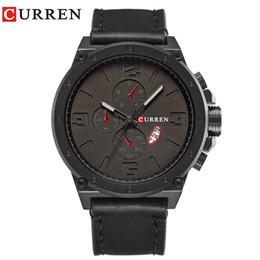 $enCountryForm.capitalKeyWord Australia - CURREN 2019 Brand Top New Fashion Casual Quartz Wrist Watch Men Large Dial Waterproof Leather Relojes Black Strap For Leather