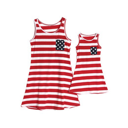 $enCountryForm.capitalKeyWord Australia - Mother daughter dresses 4th of july girls red white stripe vest american flag children backless polka dots tassel casual dress F8201