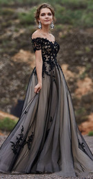 Bohemian short wedding dress online shopping - Black and Nude Gothic A line Wedding Dresses Off the Shoulder Lace Tulle Boho Infomal Forest Bohemian Colored Wedding Gowns