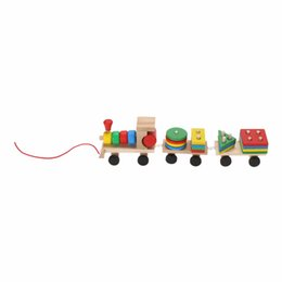 Vehicle Blocks Australia - educational toys Toddler Baby Stacking Train Block Fun Vehicle Block Board Game Toy Wooden Educational Toy for Children Xmas Gift