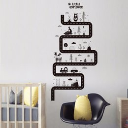 Animal Wall Stickers For Kids Bedrooms Australia - Cartoon Animal Car Road Wall Stickers for Kids room Living room Bedroom Background Wall Decor Vinyl Removable Art Mural