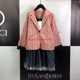 $enCountryForm.capitalKeyWord Australia - suit Girls set kids designer clothing pink striped suit jacket + camisole skirt 2pcs autumn cute princess wind set