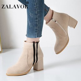 Simple ShoeS bootS online shopping - ZALAVOR Plus Size Autumn Winter Daily Women Ankle Boots Simple Zipper Square Heels Boots Shoes Women Zapatos De Mujer