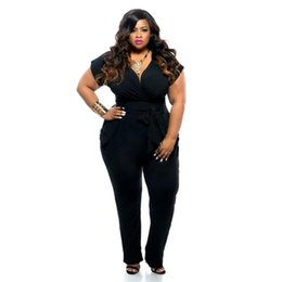 be253bb3e06 Plus Size Women Jumpsuits Rompers Fashion Sexy Ladies Big Size Short Sleeve V  Neck Jumpsuits Summer Hot Sale Jumpsuits Long