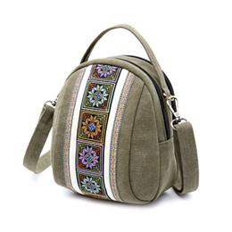 $enCountryForm.capitalKeyWord NZ - Embroidery Canvas Crossbody Bag Cell phone Pouch Coin Purse for Women Girls