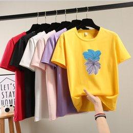 Toptan satış 2019 Yaz moda Kadın T Shirt Tops Mektup Baskı T-shirt tees Pamuk Kısa Kollu T-shirt Kadın siyah beyaz S-xXL Tops