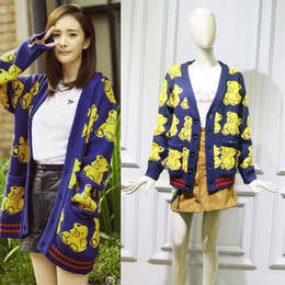 Discount blue bear suit - New Star Yang Mi's Blue Knitted Suit with Cartoon Bear Pattern Cardigan Winter Sweater Women Cardigans Casual Compu