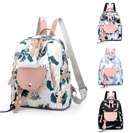 Discount school tote bags for girls - Women Backpack for Teenage Girls Female Ladies Fashion Leaves Graffiti School Handbag Tote Shoulder Backpack Bags mochil