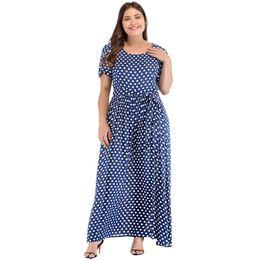 Red White Polka Dot Shorts Australia - Romacci 5xl Plus Size Dress Summer Fashion Women Long Polka Dot Dress Short Sleeves High Waist Tie A-line Vintage Maxi Dresses Y19051001