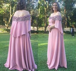 $enCountryForm.capitalKeyWord Australia - Blush Evening Dresses Off Shoulder Chiffon Appliques Beads Plus Size Women Formal Dresses Mother Of The Bride Dress Special Occasion
