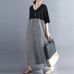 $enCountryForm.capitalKeyWord Australia - Dress For Women 2019 Summer Sundress Short Sleeve V Neck Patchwork Plaid Long Shirt Dresses Maxi Vestidos Robe Plus Size