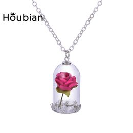 $enCountryForm.capitalKeyWord Australia - Houbian Classical Glass Vial Necklace Prince Rose Necklace pendants Retro Crystal Natural Dried Flowers For Mom family