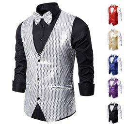 raves clothing NZ - Men's Vest Sequin Magician Stage Costume Nightclub Host Coat Male Singer Dj Ds Rave Performance Clothing Bar Show Wear DN5089