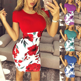 wholesale plus size clothes Australia - Summer Sexy Slim Bodycon Mini Party Dress Casual Short Sleeve Splice Print Dress Knitted Vestidos 5XL Plus Size Women Clothing