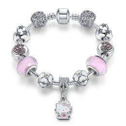 2019 Bracelet perlé chaud DIY Rose Inlay Kitty Chat Alliage Pendentif Main Burst Accessoires Livraison Gratuite en Solde