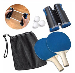 paddle tennis UK - Portable Table Tennis Set 1.9M Telescopic Net Rack 1 Pair Table Tennis Paddle Pingpong Training Accessories Set Dropshipping