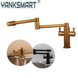 Oil Rubbed Brass Kitchen Faucet Australia - YANKSMART Antique Brass Swivel Kitchen Faucet 360 Rotatable Swivel Spout Black Kitchen Vessel Sink Faucet Mixer Tap