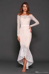 Tea Party Dresses White Canada - Sexy 2019 New Latest White Lace Off Shoulder Tea Length Cocktail Dresses Vintage Long Sleeve High Low Mermaid Party Formal Gowns 407